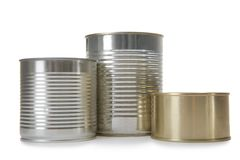 Closed tin cans isolated on white, mockup for