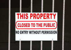 Closed to the Public Stock Photography