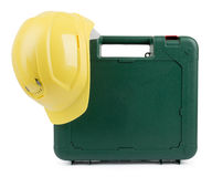 Closed tool box with construction yellow helmet Stock Photography