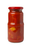 Closed transparent glass jar with canned Lecho (Bulgarian pepper Stock Images