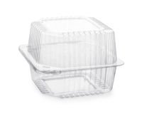 Closed transparent plastic food packaging box. Isolated on white Royalty Free Stock Photos