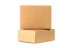 Closed two cardboard Box or brown paper box isolated with soft s Royalty Free Stock Photo