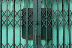 Closed two-layer steel door Royalty Free Stock Photo
