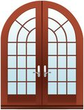 Closed two parts wooden halfmoon doors. At white Stock Images
