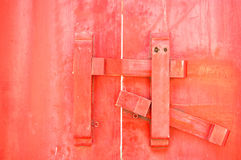 Closed up antique wooden door locked. In temple of Thailand Stock Photos
