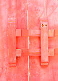 Closed up antique wooden door locked. In temple of Thailand Stock Photo
