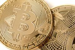 Closed up at Bitcoin Cryptocurrency future technology.  stock photo