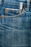 Closed up Blue jean pocket with pen Royalty Free Stock Photo