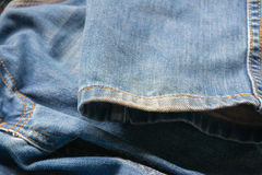 Closed up blue jeans,denim texture,selective focus Stock Images