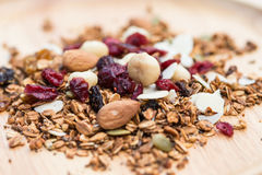 Closed up and blur breakfast healthy food, granola, musli, Organ Royalty Free Stock Image