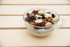 Closed up and blur breakfast healthy food, granola, musli, Organ Stock Photography