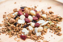 Closed up and blur breakfast healthy food, granola, musli, Organ Stock Images