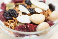 Closed up and blur breakfast healthy food, granola, musli, Organ Royalty Free Stock Photo