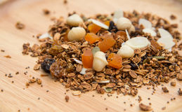 Closed up and blur breakfast healthy food, granola, musli, Organ Royalty Free Stock Photography