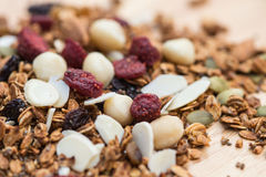Closed up and blur breakfast healthy food, granola, musli Royalty Free Stock Images