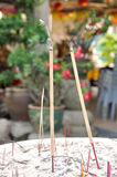 Closed up burning incense. In temple Stock Photos