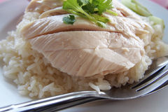Closed up of the Chicken meat in Chicken rice Stock Photo