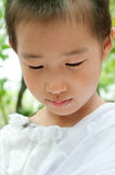 Closed up child's face in the white cloth Royalty Free Stock Image