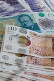 Closed up of different pound sterling banknotes stock images