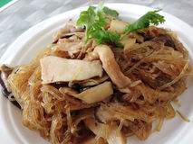 Closed up dish of fried vermicelli with mushroom Stock Image