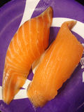Closed up the dish of salmon sushi, japanese food Royalty Free Stock Image