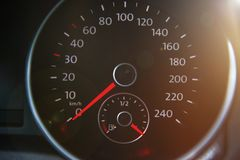 Closed up of full petrol gauge with lens flare. Closed up of full petrol gauge, energy concept stock photography