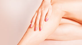 Closed up female legs. Well-groomed female legs  on pink background Stock Photos