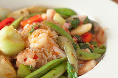 Closed up fried rice with shrimp and vegetable Stock Photography
