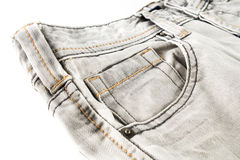 Closed up Gray jean on white isolated Stock Image
