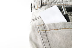 Closed up Gray jean on white isolated Royalty Free Stock Photography