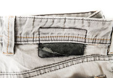 Closed up Gray jean on white isolated Stock Photo