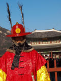 Closed up of a Gyeongbokgung Royal Guard. A Royal Guard standing at the main entrance of Gyeongbokgung Royal Palace in Seoul, South Korea Royalty Free Stock Photography