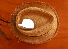 Closed up of the hat. On wood background Stock Photo