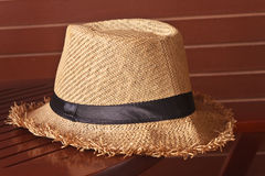 Closed up of the hat. On wood background Royalty Free Stock Photos