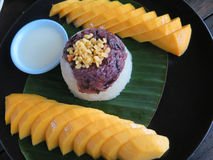 Closed up the mango with sticky rice, thai dessert Stock Photo