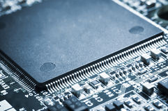 Closed up of microprocessor on motherboard. Stock Image