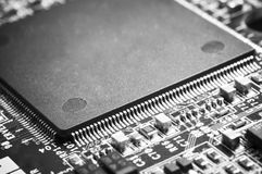 Closed up of microprocessor on motherboard. stock images