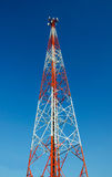 Closed up mobile telecommunication post with blue sky Stock Image