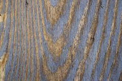 Vintage wood background with blue color peeling paint. stock photography