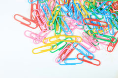 Closed-up paper clips background with empty space Royalty Free Stock Photo