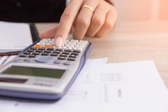 Closed up people calculate about cost at home. Finance managers task,Concept business and finance Stock Images
