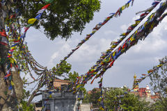 Closed up the prayer flag in Nepal Royalty Free Stock Photography