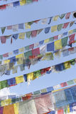 Closed up the prayer flag in Nepal Stock Photo