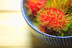 Closed up Rambutans in bowl. Stock Image