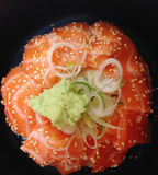 Closed up salmon sushi with rice, japanese food Royalty Free Stock Photos
