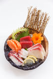 Closed up Sashimi Set include Salmon, Hamachi, Toro and Squid Stock Photo