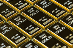Closed up shot stack of shiny gold bars as business or financial Royalty Free Stock Image