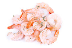 Closed-up shrimps isolated on white Royalty Free Stock Images