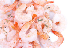 Closed-up shrimps on white Stock Photo