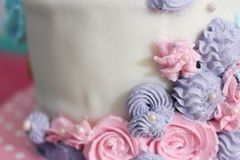 Closed up side of cream cake with space royalty free stock photography
